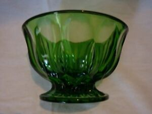 "Green glassware candy dish small fruit bowl 4""tall"