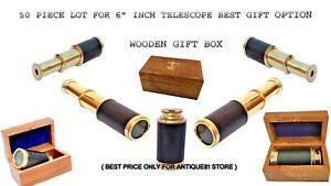 "Lot of 50 Pcs. Brass Pocket Telescope 6"" Inch Nautical Spyglass Leather Bounded"