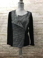 Anne Klein Womens Size 14  Front Zip Tweed and Black Knit Jacket Blazer Career