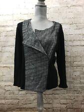 Anne Klein Ladies' Front Zip Tweed and Black Solid Knit Jacket, Size 14, Career