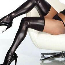 Lack Latex Strümpfe Stockings mit String Wetlook Neu Gr M Schwarz /X