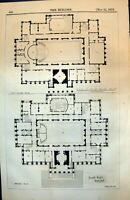 Old Print Town Hall Bolton Ground First Floor Plans Staircase Rooms 1873 19th