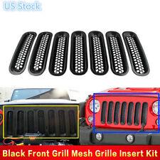 For 07-16 Jeep JK Wrangler Black Trim Front Grille Cover Insert Mesh Grill 7PCS