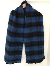 Urban Outfitters Warm Scarf Blue Tartan Mohair Look Big Soft Long Brand New Bnwt