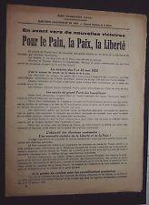 POLITIQUE FRANCE CANTONALES 1935 PARTI COMMUNISTE SFIC POUR PAIN PAIX ET LIBERTE