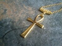 "Ankh Cross Pendant 30""-36"" Ball Chain Necklace Gold plate Ancient Life Symbol"