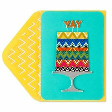 """Papyrus decorate  layered cake birthday card featuring a """"YAY"""" topper."""