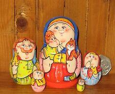 Latisheva MATRYOSHKA Russian Nesting Dolls small MATT 5 Mama Baby & Ginger Cat