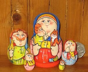 MATRYOSHKA Russian Nesting Dolls Latisheva small MATT 5 Mama Baby & Ginger Cat