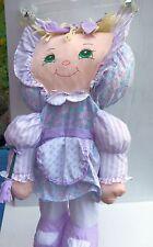 """Stuffed Puffy Cloth Doll 22"""" Soft old fashion w/ Stitched eyes & Yarn hair Rare"""