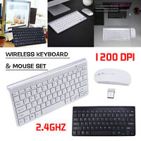 Ultrathin Mini Wireless Keyboard & Optical Mouse Combo Set 2.4GHz For PC Laptop