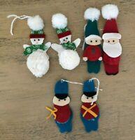 Vintage Felt Handmade Ornaments Pom Pom Santa Snowmen Soldiers Lot Of 6