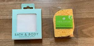 Bath & Body 100% Cotton Muslin Facial Cloth & Face Cleansing Sponge Twin Pack