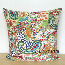 """24"""" Large Kantha Stitch Pillow Cover Handmade Sofa Room Decorative Cushion Cover"""