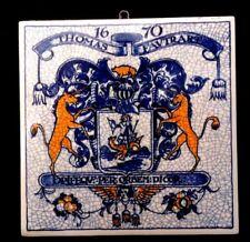 Holland Delft Tile UNICORNS Thomas Favtrart 1670 Crest Pharmacy vintage repro