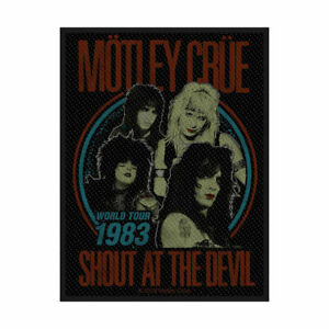 """MOTLEY CRUE - """"SHOUT AT THE DEVIL"""" - WOVEN SEW ON PATCH - OFFICIAL"""