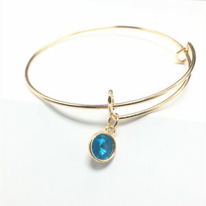 Popular Gold Tone Expandable Wire Lake Blue Charm With Pendant Bracelet Bangle