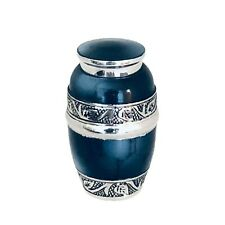 Well Lived® Blue Enameled Small Keepsake Set of 4 Cremation Urn for human ashes