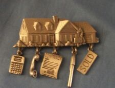 VINTAGE HOME, REAL ESTATE, SOLD, FOR SALE,  PEWTER PIN BY JJ , JONETTE JEWELRY