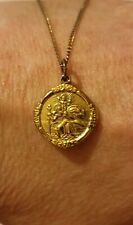 9ct Rolled Gold Vintage Double Sided Saint Christopher Pendant And Chain