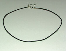 """THIN BLACK LEATHER CHOKER NECKLACE SILVER PLATED TRIGGER CLASP 18"""" NOT TIGHT!"""