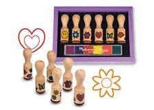 Melissa and Doug Happy Handle Stamp Set NEW wooden box washable kid-friendly ink