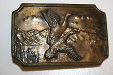 Vintage 1970s Ducks Flying Wild Life Hunting Hunter Brass Belt Buckle Rare