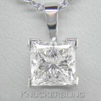 1.00ct Diamond Solitaire Pendant Princess Cut F Colour 18ct White Gold & Chain