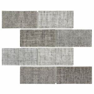Classic 3X6 Brick Subway Beige Gray linen-look Matte Glass Mosaic Tile MTO0517