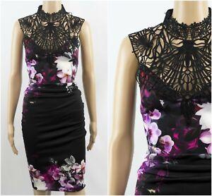 exLipsy Kardashian Cornelli Lace High Neck Print Bodycon Party Occasion Dress
