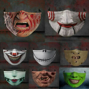 Halloween Face Mask Funny Scary Fashion Washable Reusable Face Covers Horror