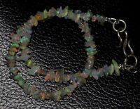 "925 Sterling Silver 7"" Strand Bracelet Ethiopian Opal Gemstone 4-6mm Beads RE414"