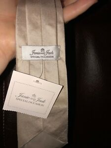 Janie & Jack ~ SILK TIE ~ Special Occasion ~ NWT ~ Beige ~Size Up to 3 ~ Clip On