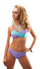 Ladies two piece swimsuit bikini push up underwire built into bra stiff cups