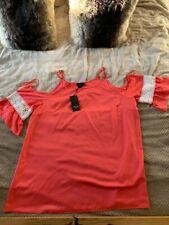 Women's AX Paris Curve Plus Size Tunic Off Shoulder Top - UK Size 28 - Pink