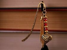 Metal Bookmark Open Filigree Golden Love Heart, Metal Tassel, & Red Swaroski