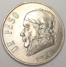 1978 Mexico Mexican One 1 Peso Morelos y Pavon Coin XF+