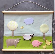 "Barnyard Farm Animal Applique Wall Hanging Nursery Toddler Baby 12.5"" X9"""