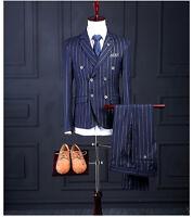 Blue Striped Double Breasted Men Suit 3 Pieces Best Men Formal Wedding Prom Suit