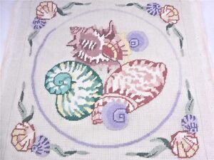 Needlepoint Partially Sewn Vintage SEASHELL Nautilus Scallop + Persian Yarn EXC