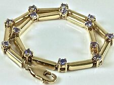 "10k Yellow Gold .98 Ct Natural Faceted Tanzanite Purple Tennis Bracelet 7 1/4""L"