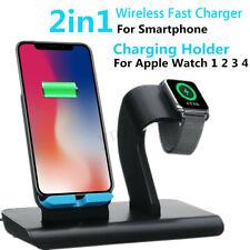 2 en 1 Qi Inalámbrico Cargador Carga Rápido Soporte Para iPhone Apple Watch *