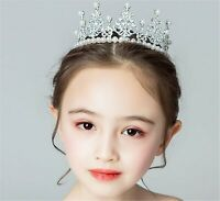 Children Kids Flower Girl Pearl Crown Princess Crystal Tiara Hair Headband