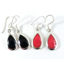 Tropfen Ohrringe Koralle Rot * Onyx Schwarz 925 Sterling Silber Ohrhänger Neu