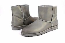 UGG CLASSIC UNLINED MINI METALLIC LEATHER BOOTS SILVER COLOR SIZE 9 US