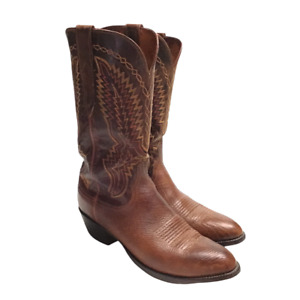 Lucchese 2000 Mens 9.5D Cowboy Boots Brown Leather Embroidered Pointed Toe