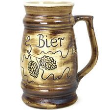 Bierkrug 1L Maßkrug Bier Krug Kanne Humpen Trinkgefäß handbemalte Keramik Hopfen