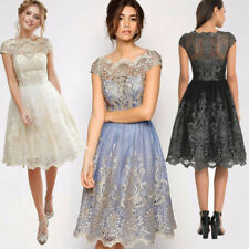 AU Womens Lace Prom Floral Formal Evening Cocktail Party Bridesmaids Gowns Dress