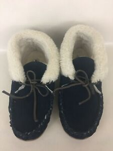 Womens Minnetonka -JR. TRAPPER Moccasin Slippers Navy Blue Suede Shearing US 7