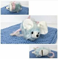Vintage Miss Merry Blue & Pink Mouse Pin RARE / Mice Stuffed Animal Plush 001